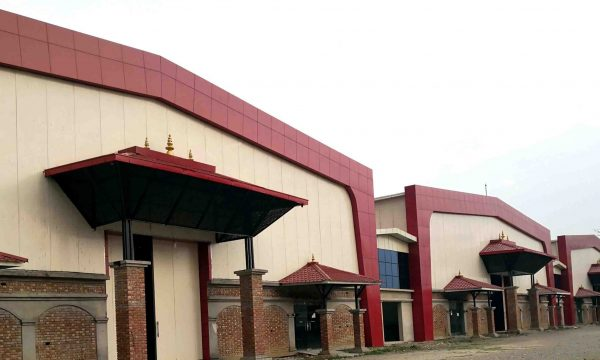 chitwan exhibition center, made using prefabricated materials